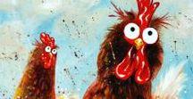 Art - Birds / Bird art! Wild birds, chickens, ostriches and funny bird faces!