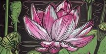 Printmaking - Flowers / Linocut, woodcut, and other prints of flowers.