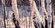 Printmaking - Trees / Linocut, woodcut, and reduction prints of trees.
