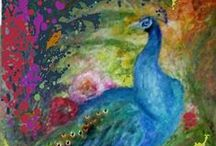 Artistic Peacocks / Peacocks, in all their colorful glory, for Valerie!