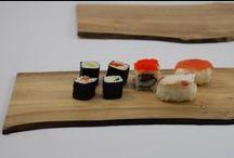 Bandeja tabla madera de nogal de bosques plantados / Barniz alimentario, lavable