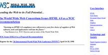 W3C.org timeline 1998 – 2010 / Look through the development of W3C.org websites on a timeline.
