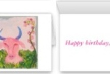 """Astrology Birthday Cards / We've just created a beautiful set of astrology birthday cards featuring Anne's original astrology watercolors. Each design has a vibrant full-color image on the front, with a """"Happy Birthday"""" message inside."""