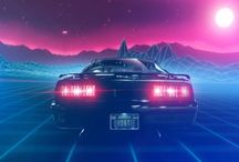 Neon nights 1985 / Neon nights, sexy cars, mid 80's Miami and vigilante justice: a collection of synthwave, retro futurist, cyberpunk and outrun inspired art and design