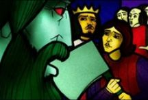 Sir Gawain & Green Knight / 2002: Animated TV Movie faithful to the 14th century medieval poem using an animation style reminiscent of stained-glass windows & James D'Arcy providing the voice of Sir Gawain. Production began in 2001 over 18 months in Dublin. Script recording was on 22 April 2002. Released on: 14 Aug 2002 (UK) / RTE2, 27 Dec 2002 / Channel 4, New Years Day 2002 / Galway Film Festival. Won 2002 BAFTA for Children's Best Animation.