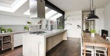 KITCHEN EXTENSIONS / Kitchen extension inspiration and ideas, including shots of my own kitchen extension with a full remodel and renovation. Classic white units, exposed brick and natural materials adopting a subtle industrial style to create a practical and sociable family kitchen.
