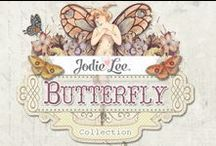 The Butterfly Collection / A sweet, vintage essence, gorgeous colors, and beautiful patterns are effortlessly combined in the Butterfly Collection by Jodie Lee. With papers, flowers, crystals, wood icons, tags, and more...you will find everything you need in this stunning collection!