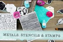 Metals, Stencils and Stamps / Our stamps and stencils have trendy patterns and designs that are perfect for Mixed Media, Cards, Altered Projects, DIY and Paper Crafting.
