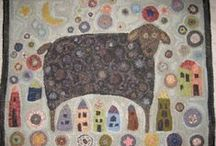 Hooked Rugs and Primitive Art / Hooked rugs and art that looks like primitive hooked rugs