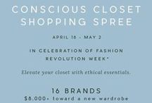 Conscious Closet Shopping Spree / Conscious Closet Shopping Spree in celebration of Fashion Revolution Week. Elevate your closet with ethical essentials from 17 brands, with over $8,000+ in prizes. Enter each brand's giveaway between April 18, 2016 and May 2, 2016 for a chance to win an exclusive shopping spree.   (giveaway is in support of Fashion Revolution Week and is not officially affiliated with the organization)
