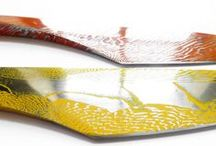 Messer aus farbigem Damaszenerstahl / Messer aus farbigem Damaszenerstahl