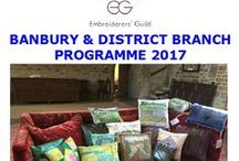 2017 Speakers @ the Banbury & District branch / EVENING MEETINGS - Evening meetings are usually on the third Thursday of the month starting at 7.30 pm at St Mary's House, Broughton. Evening meetings will feature a variety of speakers on a range of topics, as well as some practical sessions on print techniques with Judith Gussin, visits to museums and Caroline Nixon with natural dyeing, Lynda Monk - Creating surfaces, Liz Brook-Ward 'Whatever Floats you Boat'
