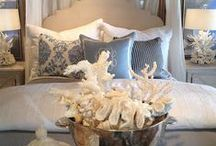 Coastal Cottage/Farmhouse Decor / I love white,like pretty white dishes. The ocean, sand, cozy nights, candle light, wicker baskets, comfy throws & fluffy pillows .White towels & sheets. Hydrangea's .
