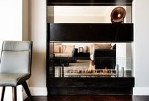Bellevue Hill, NSW - Stone fireplace and media wall / Bespoke stone fireplace and media wall