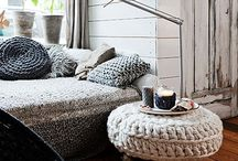 K N I T T E D  D E C O R / Knitted decor in interior design. Modern knits, knitted poufs, knitted pillows, accessories, knitted lights, knitted wallpaper. For more about this interior design trend visit http://www.designloversblog.com/design-and-decoration/knitted-home-decor/