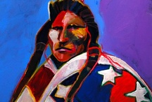 """Art . . Malcolm Furlow / Malcolm Furlow paints brightly colored acrylic images of Native Americans.  About his subject matter and painting style, Furlow has said, """"I knew I wanted to say it with color because that's the emotion of it.  I've got to make the viewer feel what I feel .  All I'm trying to do is paint them as they are - paint their culture, their dignity and their stature .  I didn't want to do portraits of Indians, I wanted to say something about the human condition."""""""