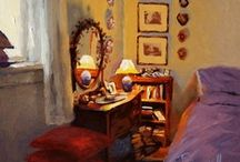"""Art . . Larry Bracegirdle / Bracegirdle has been painting for almost 40 years and in that time he has painted all the subjects around him: interiors, landscapes, still lifes, horses and even an odd marinescape.  He says,""""I seem to get orange into almost every painting"""". The light, the colour, the sensuality, and the comforting nostalgia of Larry""""s subject matter draws the viewer in to have a closer look at the idyllic reality portrayed in his lush paintings."""