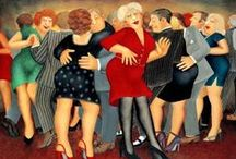"""Art . . Beryl Cook / """"Beryl Cook, (1926 – 2008) Born in Surrey, England, Beryl Cook was a painter of scenes of humanity that are often humorous because of the distorted shapes of the figures and the situations in which they are placed.  She has been described as a """"Rubens with jokes""""  / by Francine Schwartz"""