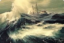 Art . . Carl G. Evers / It has been said that seeing Carl G. Evers' work is like looking at the sea for the first time.  Renowned for his precise, life-like marine paintings, he was considered one of the finest marine artists of the twentieth century.  Evers contributed many paintings to the US Navy. The Navy even has a 'Carl G Evers' room on board the 'U.S.S. Alabama', a battleship museum permanently docked in Mobile, Alabama. / by Francine Schwartz