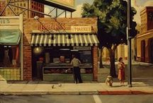 Art . . Sally Storch / The driving force in Sally Storch's paintings is her ability as a storyteller. Her work offers a pure vision of ordinary people unsentimentally portrayed.  Her paintings are made up of intricate scenarios, each person living their own tale.  She allows them to go about their private lives, while we as viewers, unravel the narrative.