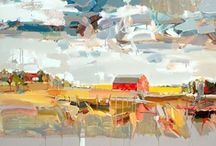 Art . . Josef Kote  / Josef Kote was born in Albania in 1964.  His trade marks are his bold brush work and sweeping strokes of vibrant colors applied - more often than not - with a pallet knife, while other areas of the canvas are left monochromatic and devoid of detail creating a negative space that lets the eye drift to infinity. The results are paintings that tremble in stillness with energy and light.