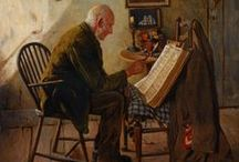 Art . . Charles Spencelayh / Many of Spencelayh's subjects were of domestic scenes, painted with an almost photographic detail. He was also a founder member of the Royal Society of Miniature Painters, and was a favourite of Queen Mary, who was an avid collector of his work. In 1924 he painted a miniature of King George V for the Queen's doll house. / by Francine Schwartz