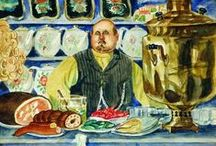 """Art . . Boris Kustodiev / A talented genre-painter, master of psychological portraiture, book illustrator and stage-set artist. His talent is most apparent in his poetic paintings on themes from the life of the people, in which he conveyed the inexhaustible strength and beauty of the Russian soul. He wrote, 'I do not know if I have been successful in expressing what I wanted to in my works: love of life, happiness and cheerfulness, love of things Russian—this was the only """"subject"""" of my paintings ...'  / by Francine Schwartz"""