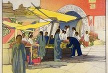 Art . . Bertha Lum / Bertha Lum  (American, 1879-1954) was one of the artists responsible for making the art of Japanese and Chinese wood block printing known outside Asia. Mixing it with the elegant Art Nouveau, her prints are inspired by old legends and the street life of Beijing.  / by Francine Schwartz