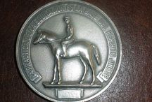 Equestrian medals and coins