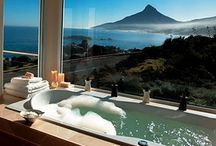 "TUB LOVE / I'm so drawn to luxury baths and bathtubs.  My vision of a ""peaceful place"" always seems to include a tub with a gorgeous view! / by Beth CP"
