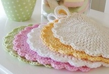 Crochet ~ Potholders.  Lovely colourful ideas and some free patterns.