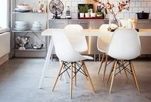 {Styling: Eames Chair} / Eames Plastic Side Chair, designed by Charles and Ray Eames in 1950. I especially love the DSW (Dining Side Shell Wood) version with the wooden base.