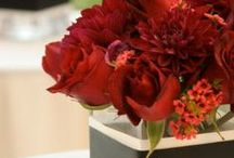 red floral work / flowers in tints, tones, and shades of red