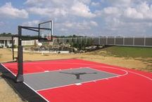 Half Basketball Courts / Experience the practicality of our half court backyard basketball courts. A half court is the perfect solution for those with limited space and on a fixed budget. #halfbasketballcourt