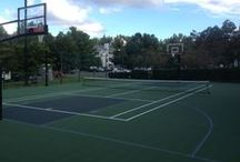 Tennis Court Conversions / DeShayes can turn your unused tennis court into a full court of FUN! We can convert it to anything from a basketball court, dog park, turf field, batting cage, and more, as well as a combination of any of these!
