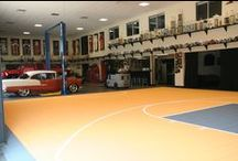 Indoor Basketball Courts / No need to worry about the elements when you really want to play ball! DeShayes Dream Courts can design and build an indoor basketball court for your home. #indoorbasketballcourt