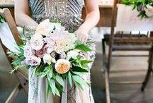 Sarah M. / Blush, light purple, ivory, greenery; soft and organic.