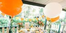 Party Style: Amongst the Orange Trees / Be inspired for your next party or event with a splash of orange and citrus. Groves of orange trees and the freshness of an Italian Coastal sea breeze. Insects buzzing and lush garden tropicals.
