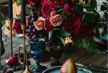 Party Style: Noir Florals / Floral inspiration that is a little moody and dark with deep rich colours. Perfect for capturing that deep romantic vibe for your wedding or event.