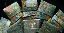 Foldover Tarot Pouches in Vintage Silks & Brocades / Handmade pouches by Bababarock/Baba Studio in vintage kimono silks, English-woven brocades, antique Czech indigo and other special fabrics.
