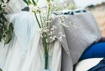 Party Style: Misty Mornings / Delicate soft tones evoking misty blue grey mornings for the inspiration for an elegant wedding or event.