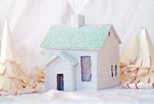 Paper Homes / A collection of DIY or pattern-purchase mini buildings - made from paper or chipboard - for decorating with...