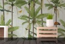 Tropical Leaf by Franco Moz / A brand new range by our Senior Designer, Franco Moz. It encapsulates the strong botanical atmosphere of a summer paradise -and as a wallpaper or stretched canvas- is able to truly bring the outdoors into your modern day home decor.