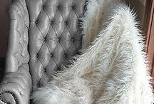Golden / hunt for mirror/ fur throw / by Natalie Abbott