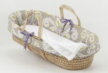 """Moses Baskets / Adorable to look at, lightweight, and portable, these baby Moses Baskets coordinate perfectly with Cotton Tale Designs' baby bedding sets and nursery decor. Moses baskets are a wonderful baby shower gift regardless of bedding or decor choices. Each Moses Basket comes with a super-soft """"cuddle fleece"""" sheet and receiving blanket.   http://www.cottontaledesigns.com/collections/moses-baskets"""