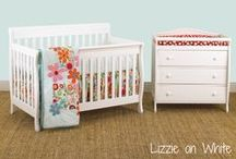 """Nursery Furniture / """"New from Cotton Tale Designs Furniture and crib bedding set. These new packages include a convertible crib, 4 piece or 3 piece bedding set of your choice, changer with matching pad, and a glider option. Different packages available to fit all your nursery needs. Nursery Furniture packages are available in two wood tones, Espresso and White. All Cotton Tale Designs bedding patterns are available within these furniture packages.  """""""