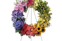 Multicolored Funeral Inspiration / Here are a few multicolored funeral stationery themes and floral arrangements to give you inspiration.