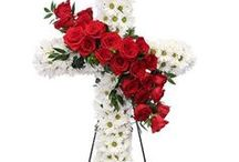 Christian Funeral Inspiration / Want to honor the Christian in your life? Here are a few funeral stationery themes and floral arrangements to give you inspiration.