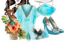 Turquoise Inspired Wedding / Inspiration Color Mood Board for Weddings with with the color turquoise.  A lovely curated collection of brides, bridesmaids, decor, event, wedding accessories and eye candies hand picked by ANGEE W.