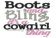 Cowgirl Bling / Rhinestones, Studs, Metal Snaps & lots of bling will make you stand out in the ring, on the dance floor or anywhere around town.